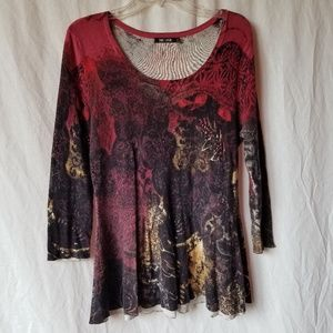 Nick+ Zoe 3/4 sleeve knit floral tunic top XL